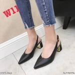 รองเท้าคัทชู ส้นเตี้ย รัดส้น แต่ง V ด้านหน้า ส้นแต่งขอบเงาสวยหรู หนังนิ่ม ทรงสวย สูงประมาณ 2.5 นิ้ว ใส่สบาย แมทสวยได้ทุกชุด (K9373)