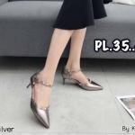 รองเท้าคัทชู ส้นสูง รัดข้อ หนังเงาแต่งหมุดขอบสวยหรูสไตล์วาเลนติโน หนังนิ่ม ทรงสวย สูงประมาณ 2.5 นิ้ว ใส่สบาย แมทสวยได้ทุกชุด (K9331)