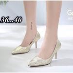 รองเท้าคัทชู ส้นสูง บุผ้าแต่งดีเทลลายริ้วสวยหรู หนังนิ่ม ทรงสวย สูงประมาณ 3 นิ้ว ใส่สบาย แมทสวยได้ทุกชุด (A678-89)