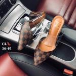 รองเท้าคัทชู เปิดส้น ส้นสูง แต่งหนังลายตารางดาเมียร์สไตล์ LV คาดหน้าพลาสติกใสสวยเก๋ หนังนิ่ม ทรงสวย สูงประมาณ 3 นิ้ว ใส่สบาย แมทสวยได้ทุกชุด