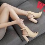 รองเท้าแฟชั่น ส้นสูง รัดข้า หนังสักหราดเรียบหรู ดีไซน์หุ้มหน้าเท้าเปิดนิ้วสวยเก๋โมเดิร์น หนังนิ่ม ทรงสวย สูงประมาณ 4.5 นิ้ว ใส่สบาย แมทสวยได้ทุกชุด (B-08)