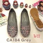 รองเท้าคัทชู ส้นแบน ทรงหัวมน แต่งลายดอกไม้ ฉลุลาย ขอบปักสวยหวานสไตล์วินเทจ หนังนิ่ม พื้นนิ่ม ทรงสวย ใส่สบาย แมทสวยได้ทุกชุด (CA184)
