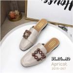 รองเท้าคัทชู เปิดส้น แต่งอะไหล่เพชรคลิสตัลหลากสีสวยหรู หนังนิ่ม ทรงสวย ใส่สบาย แมทสวยได้ทุกชุด (2015-267)