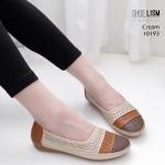 รองเท้าคัทชู ส้นแบน แต่งสีไล่โทนสีลายฉลุสวยเก๋ หนังนิ่ม พื้นนิ่ม เพื่อสุขภาพ ทรงสวย สูงประมาณ 1 นิ้ว ใส่สบาย แมทสวยได้ทุกชุด (10193)