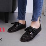 รองเท้าคัทชู ส้นแบน สไตล์ผ้าใบแต่งลูกไม้และโบว์สวยน่ารักวินเทจ หนังนิ่ม ทรงสวย ใส่สบาย แมทสวยได้ทุกชุด (1316-1)