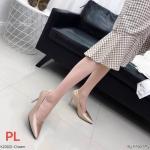 รองเท้าคัทชู ส้นสูง หนังบุซาตินสวยเรียบหรู หนังนิ่ม ทรงสวย สูงประมาณ 3 นิ้ว ใส่สบาย แมทสวยได้ทุกชุด (K23122)