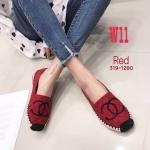 รองเท้าคัทชู ส้นแบบ ทรง slip on แต่งลายปัก CC สไตล์ชาแนล ส้นแต่งขอบเชือกถักสวยเก๋ หนังนิ่ม ทรงสวย ใส่สบาย แมทสวยได้ทุกชุด (319-1280)