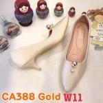 รองเท้าคัทชู ส้นเตี้ย แต่งอะไหล่ประดับเพชรคลิสตัลสวยหรู หนังนิ่ม ทรงสวย ส้นสูงประมาณ 2.5 นิ้ว ใส่สบาย แมทสวยได้ทุกชุด (CA388)