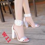 รองเท้าแฟชั่น ส้นสูง แบบสวม รัดข้อ ดีไซน์เปลือยเท้าแต่งเข็มขัดสายรัดข้อสุดเก๋หนังนิ่ม ทรงสวย สูงประมาณ 4 นิ้ว ใส่สบาย แมทสวยได้ทุกชุด