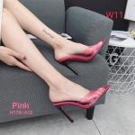 รองเท้าแฟชั่น ส้นสูง แบบสวม แต่งคาดหน้าพลาสติกใสนิ่มสีแมทกับตัวรองเท้า ดีไซน์หัวแหลมสวยเก๋ลุคปราดเปรียว ทรงสวย สูงประมาณ 4 นิ้ว ใส่สบาย แมทสวยได้ทุกชุด (H178-A12)