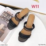 รองเท้าแฟชั่น ส้นสูง แบบสวม แต่งหนังเส้นกลมนิ่มสวยอินเทรนด์ หนังนิ่ม ทรงสวย ส้นลายไม้ สูงประมาณ 2.5 นิ้ว ใส่สบาย แมทสวยได้ทุกชุด (K9385)