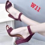 รองเท้าแฟชั่น ส้นสูง รัดข้อ หนังสักหราดแต่งเข็มขัดสายรัดข้อสวยเรียบหรู หนังนิ่ม ทรงสวย สูงประมาณ 4 นิ้ว ใส่สบาย แมทสวยได้ทุกชุด (B-10)