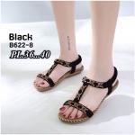 รองเท้าแตะแฟชั่น รัดส้น แบบหนีบ แต่งลูกปัดดอกไม้สวยน่ารัก หนังนิ่ม รัดส้นยางยืดนิ่ม ทรงสวย ใส่สบาย แมทสวยได้ทุกชุด (B622-8)
