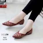 รองเท้าคัทชู ส้นแบน สไตล์ซาร่าห์ ทรงหัวแหลม ประดับคลิสตัลทั้งตัวสวยหรู หนังนิ่ม ทรงสวย ใส่สบาย แมทสวยได้ทุกชุด (10199)