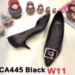 รองเท้าคัทชู ส้นเตี้ย แต่งอะไหล่สวยเรียบเก๋ หนังนิ่ม ทรงสวย ส้นสูงประมาณ 2.5 นิ้ว ใส่สบาย แมทสวยได้ทุกชุด (CA445)