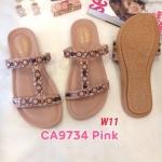 รองเท้าแตะแฟชั่น แบบสวม แต่งอะไหล่ลูกปัดสไตล์โบฮีเมี่ยมสวยเก๋ หนังนิ่ม พื้นนิ่ม ทรงสวย ใส่สบาย แมทสวยได้ทุกชุด (CA9734)
