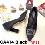 รองเท้าคัทชู ส้นสูง แต่งอะไหล่สวยหรู ส้นเหลี่ยมเก๋ หนังนิ่ม ทรงสวย ใส่สบาย ส้นสูงประมาณ 3 นิ้ว แมทสวยได้ทุกชุด (CA414)