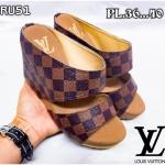 รองเท้าแฟชั่น ส้นเตารีด แบบสวม ลายตารางดาเมียร์สไตล์ LV หนังนิ่ม ทรงสวย สูงประมาณ 3.5 นิ้ว ใส่สบาย แมทสวยได้ทุกชุด (RU51)