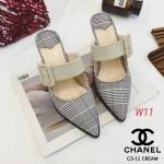 รองเท้าคัทชู เปิดส้น แต่งลายสก็อต คาดเข็มขัดด้านหน้าสวยเก๋สไตล์ชาแนล หนังนิ่ม ทรงสวย ส้นสูงประมาณ 3 นิ้ว ใส่สบาย แมทสวยได้ทุกชุด (C3-11)