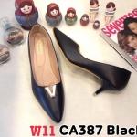 รองเท้าคัทชู ส้นเตี้ย แต่งอะไหล่ V สวยเรียบเก๋ หนังนิ่ม ทรงสวย ส้นสูงประมาณ 2.5 นิ้ว ใส่สบาย แมทสวยได้ทุกชุด (CA387)