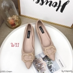 รองเท้าคัทชู ส้นเตี้ย แต่งอะไหล่เข็มขัดสวยหรู ส้นเหลี่ยมเก๋ หนังนิ่ม ทรงสวย สูงประมาณ 1.5 นิ้ว ใส่สบาย แมทสวยได้ทุกชุด (K9351)