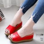 รองเท้าแฟชั่น ส้นเตารีด แบบสวม แต่งอะไหล่จรเข้สวยเรียบหรู เย็บขอบรอบ หนังนิ่ม ทรงสวยเก็บหน้าเท้า สูงประมาณ 3 นิ้ว ใส่สบาย แมทสวยได้ทุกชุด (107)