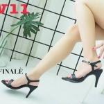 รองเท้าแฟชั่น ส้นสูง รัดส้น แบบสวม ดีไซน์เรียบเก๋เปลือยเท้า หนังนิ่ม ทรงสวย สูงประมาณ 4 นิ้ว ใส่สบาย แมทสวยได้ทุกชุด