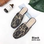 รองเท้าคัทชู เปิดส้น แต่งลายลูกไม้สวยหวานลุคเซ็กซี่ อะไหล่สไตล์กุชชี่ หนังนิ่ม ทรงสวย ใส่สบาย แมทสวยได้ทุกชุด (2015-243)