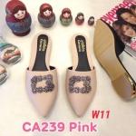 รองเท้าคัทชู เปิดส้น แต่งอะไหล่เพชรสวยหรู ส้นแต่งขอบทอง หนังนิ่ม ทรงสวย ใส่สบาย แมทสวยได้ทุกชุด (CA239)