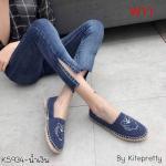 รองเท้าผ้าใบแฟชั่น ทรง slip on ผ้ายีนส์แต่งลายเสือสไตล์เคนโซ่ แต่งขอบเชือกถักสวยเก๋ ทรงสวย ใส่สบาย แมทสวยได้ทุกชุด (K5934)