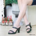 รองเท้าแฟชั่น ส้นสูง แบบสวม แต่งโซ่สวยเรียบเก๋ หนังนิ่ม ทรงสวย ส้นสูงประมาณ 4 นิ้ว ใส่สบาย แมทสวยได้ทุกชุด