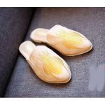 รองเท้าคัทชู เปิดส้น แต่งลายทางปักแมลงสุดเก๋สไตล์กุชชี่ หนังนิ่ม พื้นนิ่ม งานสวย ใส่สบาย แมทสวยได้ทุกชุด