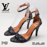 รองเท้าแฟชั่น ส้นสูง รัดข้อ แต่งหนังลายตารางดาเมียร์สไตล LV สวยเรียบหรู หนังนิ่ม ทรงสวย สูงประมาณ 3 นิ้ว ใส่สบาย แมทสวยได้ทุกชุด (P10)
