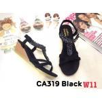 รองเท้าแฟชั่น ส้นเตารีด แบบสวม รัดส้น แต่งอะไหล่คลิสตัลสวยหรู หนังนิ่ม รัดส้นยางยืดนิ่ม ทรงสวย ใส่สบาย แมทสวยได้ทุกชุด (CA319)