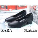 รองเท้าคัทชู ส้นเตี้ย ทรงสวย หัวแหลมหน้า V สไตล์ zara เก็บเท้าเรียว ส้นสูงประมาณ 2 นิ้ว ใส่สบาย แมทสวยได้ทุกชุด (R-026)