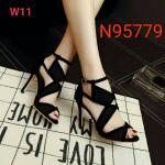 รองเท้าแฟชั่น ส้นสูง รัดข้อ แต่งด้านหน้าดีไซน์กราฟฟิคสวยเก๋ปราดเปรียว หนังนิ่ม ทรงสวย สูงประมาณ 4 นิ้ว ใส่สบาย แมทสวยได้ทุกชุด (N95779)