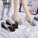 รองเท้าแฟชั่น ส้นเตารีด แบบสวม คาดหน้าพลาสติกใสนิ่มแต่งโบว์สวยหรู หนังนิ่ม ทรงสวย เสริมส้น 2 ระดับ สูงประมาณ 5 นิ้ว ใส่สบาย แมทสวยได้ทุกชุด (MK256)