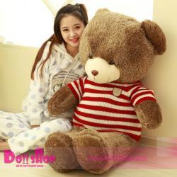 ตุ๊กตาหมีใส่เสื้อ ลายทางแดง 1.6 เมตร