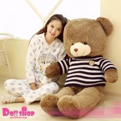 ตุ๊กตาหมีใส่เสื้อ ลายทางน้ำเงิน 1.6 เมตร