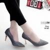 รองเท้าคัทชู ส้นสูง หนังบุผ้ากลิสเตอร์สวยวิ้งแต่งหมุดคลิสตัลสวยหรู ส้นเคลือบเงา หนังนิ่ม ทรงสวย สูงประมาณ 3 นิ้ว ใส่สบาย ใส่ออกงานได้ แมทสวยได้ทุกชุด (10185)