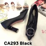 รองเท้าคัทชู ส้นสูง แต่งอะไหล่สวยหรู ส้นเหลี่ยมเก๋ดูดี หนังนิ่ม ทรงสวย สูงประมาณ 3 นิ้ว ใส่สบาย แมทสวยได้ทุกชุด (CA293)