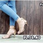 รองเท้าแฟชั่น ส้นสูง รัดข้อ แบบสวม หนังเมทัลลิคเงาแต่งดาวกลิสเตอร์ สวยหรูสไตล์แบรนด์ หนังนิ่ม ซิปหลังใส่ง่าย ทรงสวย สูงประมาณ 3 นิ้ว ใส่สบาย แมทสวยได้ทุกชุด (Ps13)