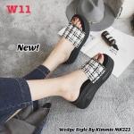 รองเท้าแฟชั่น แบบสวม ส้นมัฟฟิน แต่งลายทวิสสวยเก๋น่ารัก สไตล์เกาหลี หนังนิ่ม ทรงสวย ใส่สบาย แมทสวยได้ทุกชุด (MK223)