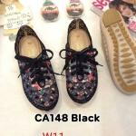 รองเท้าผ้าใบแฟชั่น แต่งฉลุลายสวยหวานและลายดอกไม้สุดน่ารัก สไตล์วินเทจ หนังนิ่ม พื้นยางกันลื่นนิ่มยืดหยุ่น ใส่สบาย แมทสวยได้ทุกชุด (CA148)