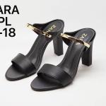 รองเท้าแฟชั่น ส้นสูง แบบสวม แต่งคาดทองสวยหรู สไตล์ ZARA หนังนิ่ม ทรงสวย สูงประมาณ 3 นิ้ว ใส่สบาย แมทสวยได้ทุกชุด (P-18)