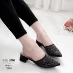 รองเท้าคัทชู เปิดส้น ทรงหัวแหลม สไตล์ซาร่าห์ แต่งด้วยหมุดเพชรสวยหรู หนังนิ่ม ทรงสวย สูงประมาณ 2 นิ้ว ใส่สบาย แมทสวยได้ทุกชุด (10184)