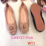 รองเท้าคัทชู ส้นแบน แต่งดอกไม้สวยน่ารัก ขอบสม็อกยางยืดนิ่มกระชับเท้า หนังนิ่ม ทรงสวย ใส่สบาย แมทสวยได้ทุกชุด (CA9727)