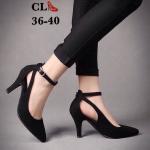 รองเท้าคัทชู ส้นสูง รัดข้อ หน้าสักหราด แต่งสายคาดหลังสวยเก๋มีสไตล์ หนังนิ่ม ทรงสวย สูงประมาณ 3 นิ้ว ใส่สบาย แมทสวยได้ทุกชุด
