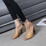 รองเท้าแฟชั่น ส้นสูง แบบสวม รัดส้น หุ้มหน้าเท้าเปิดนิ้ว ดีไซน์เรียบเก๋เท่ห์ หนังนิ่ม ทรงสวย ใส่สบาย ส้นตัดสูงประมาณ 3 นิ้ว แมทสวยได้ทุกชุด (G711108)