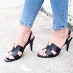 รองเท้าแฟชั่น ส้นสูง รัดส้น คาดหน้า H สไตล์แอร์เมสสวยเรียบหรู หนังนิ่ม ทรงสวย สูงประมาณ 3.5 นิ้ว ใส่สบาย แมทสวยได้ทุกชุด (PS16)
